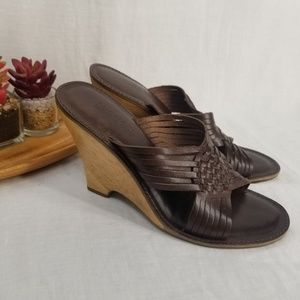 Michael Kors Brown Leather Slide Wedges Size 8